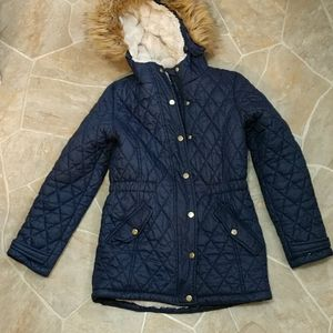 SO Quilted Navy Anorak Coat with Faux Fur Lining